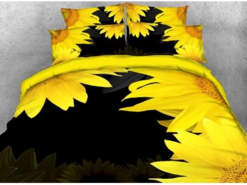 Sunflower Printed Cotton 4-Piece Black 3D Bedding Sets/Duvet Covers