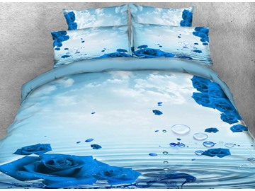 Onlwe 3D Dewy Blue Rose Printed Cotton 4-Piece Bedding Sets/Duvet Covers