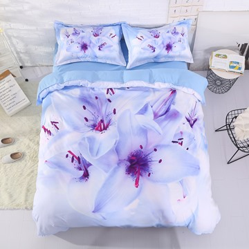 Cluster of Lilies Printed Cotton 4-Piece 3D Bedding Sets/Duvet Covers