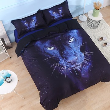 Onlwe 3D Wild Panther Printed Cotton 4-Piece Black Bedding Sets/Duvet Covers