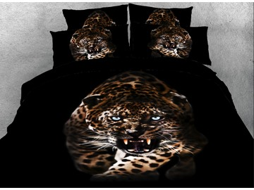 Onlwe 3D Leopard with Sharp Teeth Printed Cotton 4-Piece Bedding Sets/Duvet Covers