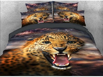 Vivilinen Wild Leopard with Sharp Teeth Printed 4-Piece 3D Bedding Sets/Duvet Covers