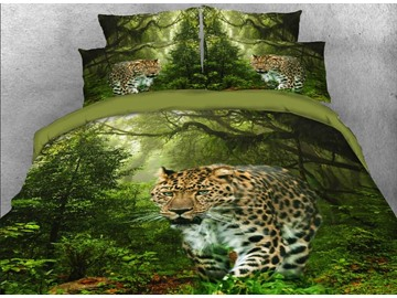 Onlwe 3D Leopard Walking in the Forest Printed 4-Piece Bedding Sets/Duvet Covers