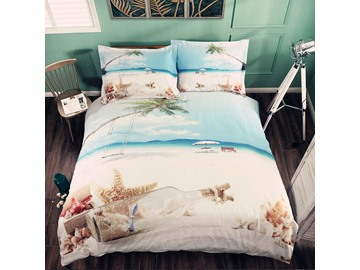3D Starfish and Drift Bottle Printed Cotton 4-Piece Bedding Sets/Duvet Covers