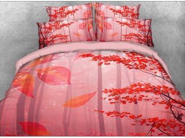 Vivilinen 3D Autumn Forest Printed Cotton 4-Piece Bedding Sets/Duvet Covers