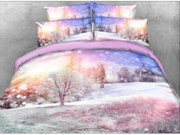 Vivilinen Winter Forest Printed Cotton 4-Piece 3D Bedding Sets/Duvet Covers