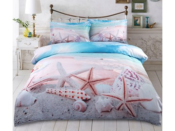 Starfish Shells Beach 4-Piece 3D Scenery Zipper Bedding Sets Machine Washable Duvet Covers