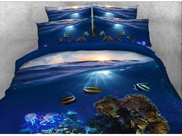 Tropical Fish Printed Cotton 4-Piece 3D Bedding Sets/Duvet Covers