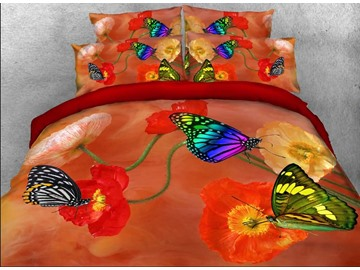 Onlwe 3D Butterfly and Poppy Printed Cotton 4-Piece Bedding Sets/Duvet Covers