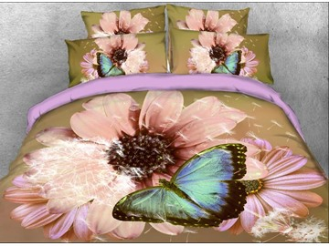 Onlwe 3D Coneflower and Butterfly Printed Cotton 4-Piece Bedding Sets/Duvet Covers