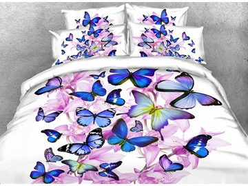 3D Fluttering Butterflies and Pink Blossom Printed Cotton 4-Piece White Bedding Sets