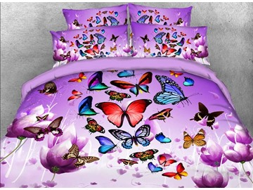 Colorful Butterflies and Purple Flower Printed Skin-friendly All-Season Ultra-soft Microfiber No-fading 3D 4-Piece Bedding Sets/Duvet Covers