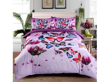 3D Colorful Butterflies and Purple Flower Printed Cotton 4-Piece Bedding Sets/Duvet Covers