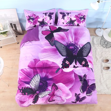 Vivilinen Pansy and Butterfly Printed Cotton 4-Piece Purple 3D Bedding Sets/Duvet Covers
