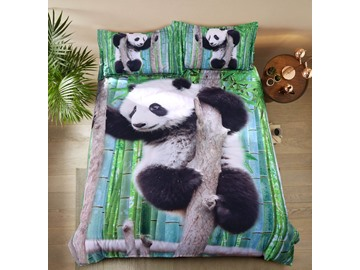 Onlwe 3D Panda Climbing Tree Printed Cotton 4-Piece Bedding Sets/Duvet Covers