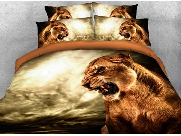 Onlwe 3D Roaring Lion Printed Cotton 4-Piece Bedding Sets/Duvet Covers