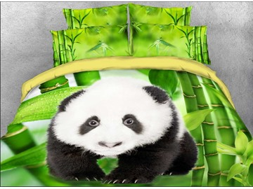Onlwe 3D Panda Cub and Green Bamboo Printed Cotton 4-Piece Bedding Sets/Duvet Covers