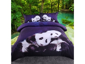 Panda and Galaxy 3D Starry Duvet Cover Set with Non-slip Ties 4-Piece Bedding Sets with Durable Soft Navy Blue Sheet and Pillow Covers