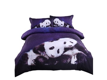 Onlwe Panda and Blue Galaxy Printed Cotton 4-Piece 3D Bedding Sets/Duvet Covers