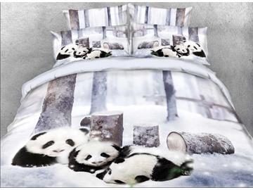 Vivilinen Panda Cub in Snow Printed Cotton 4-Piece 3D Bedding Sets/Duvet Covers