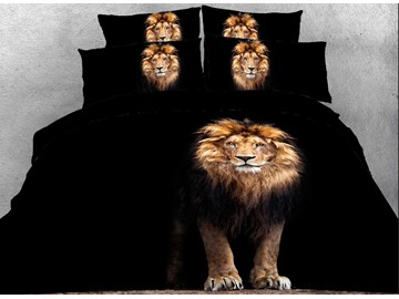 Onlwe 3D Standing Lion Printed Cotton 4-Piece Black Bedding Sets/Duvet Covers