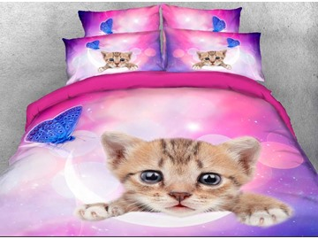 Kitten Face and Blue Butterfly Printed 3D 4-Piece Bedding Sets/Duvet Covers