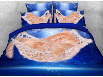 Onlwe 3D Sleeping Kitten in a Hammock Printed 4-Piece Bedding Sets/Duvet Covers