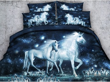 3D Unicorn and Crystal Printed Cotton 4-Piece Galaxy Bedding Sets/Duvet Covers