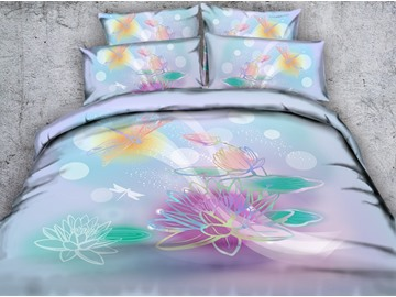 3D Watercolor Lotus and Dragonfly Printed Cotton 4-Piece Bedding Sets/Duvet Covers