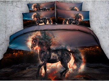 3D Fiery Unicorn Printed Cotton 4-Piece Bedding Sets/Duvet Covers