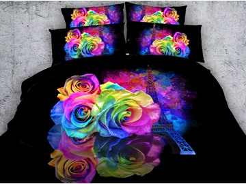 Eiffel Tower and Roses Printed Cotton 3D 4-Piece Black Bedding Sets/Duvet Covers