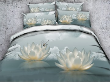 3D White Lotus and Dragonfly Printed Cotton 4-Piece Bedding Sets/Duvet Covers