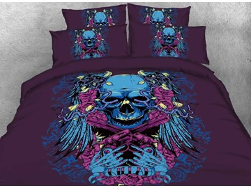 Onlwe 3D Halloween Skull with Crossing Pistols Printed 4-Piece Bedding Sets/Duvet Covers