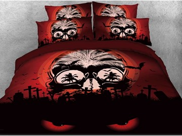 Halloween Spooky Skull Printed 4-Piece 3D Bedding Sets/Duvet Covers Polyester
