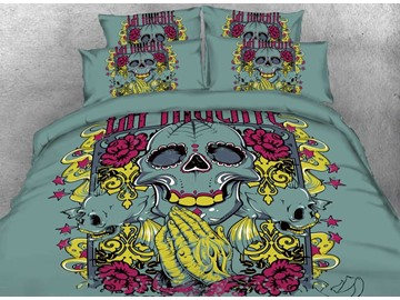 Onlwe 3D Halloween Artistic Skull Printed 4-Piece Bedding Sets/Duvet Covers