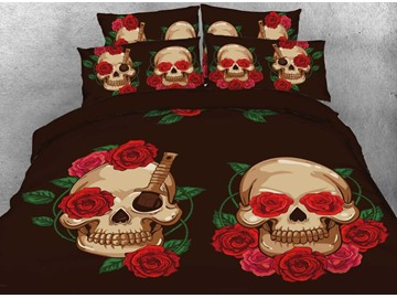 Onlwe 3D Halloween Skull and Red Rose Printed 4-Piece Bedding Sets/Duvet Covers