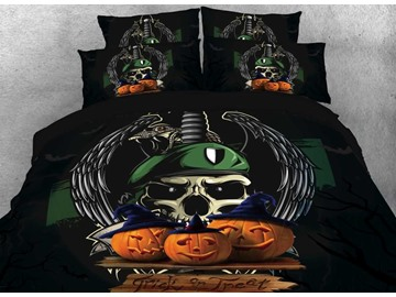 Onlwe 3D Halloween Pumpkin and Skull Printed 4-Piece Bedding Sets/Duvet Covers
