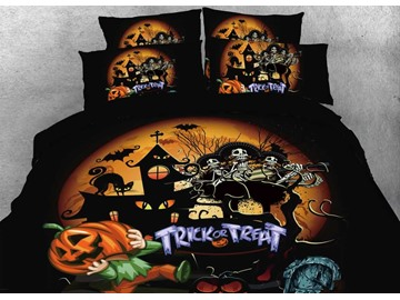 Skull and Halloween Party Printed 4-Piece 3D Bedding Sets/Duvet Covers