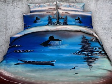 Fish Tail and Boat Printed 4-Piece Blue 3D Bedding Sets/Duvet Covers