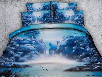 3D Mountain Stream Printed 4-Piece Blue Bedding Sets/Duvet Covers