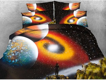 3D Outer Space and Galaxy Printed 4-Piece Bedding Sets/Duvet Covers