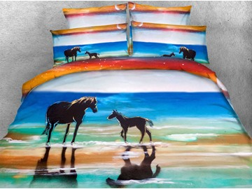 3D Horse and Colt Printed 4-Piece Bedding Sets/Duvet Covers