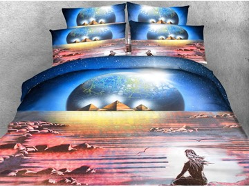 3D Yogi and the Pyramid Printed 4-Piece Bedding Sets/Duvet Covers
