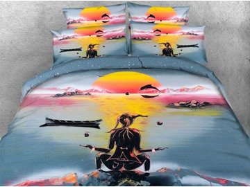 3D Yogi under Sunset Printed 4-Piece Bedding Sets/Duvet Covers