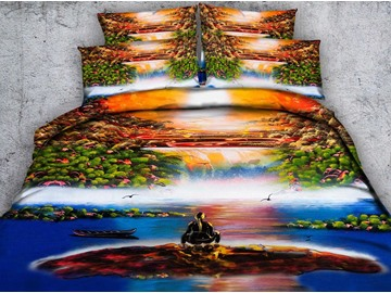 3D Boat and Waterfall Scenery Printed 4-Piece Bedding Sets/Duvet Covers