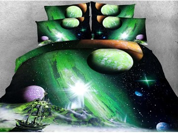 3D Ship and Galaxy Printed 4-Piece Green Bedding Sets/Duvet Covers