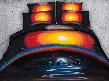 3D River and the Pyramid Printed 4-Piece Bedding Sets/Duvet Covers