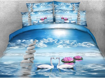 3D Swans and Pink Lotus Printed 4-Piece Bedding Sets/Duvet Covers