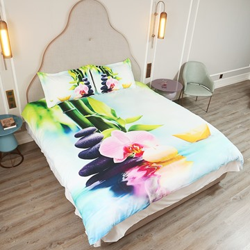 3D Phalaenopsis and Paper Boat Printed 4-Piece Bedding Sets/Duvet Covers