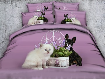White Persian Cat and French Bulldog Printed 4-Piece 3D Bedding Sets/Duvet Covers